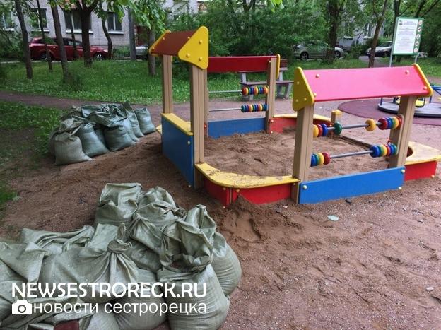 В Сестрорецке начали менять песок в детских песочницах