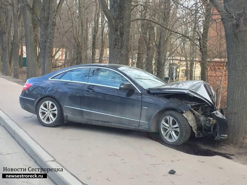 В Сестрорецке Mercedes врезался в дерево