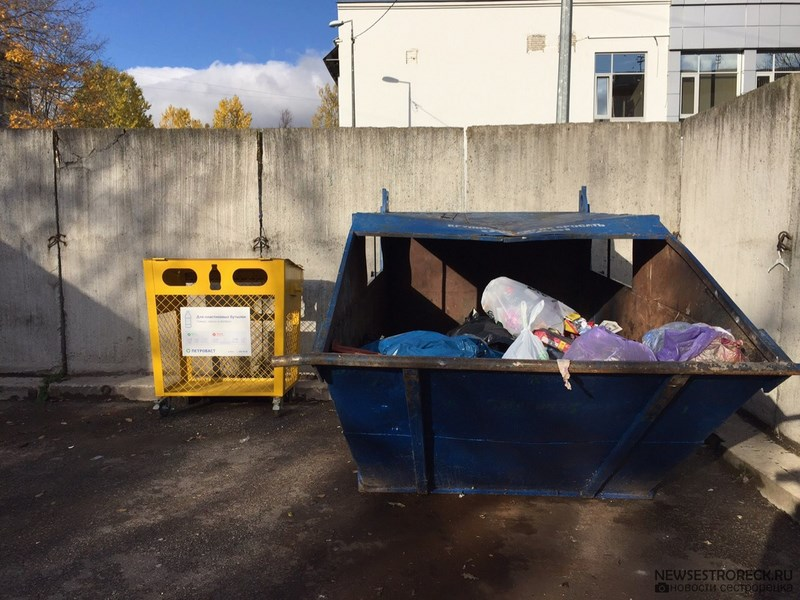 Во дворах Сестрорецка появились контейнеры для пластиковых бутылок