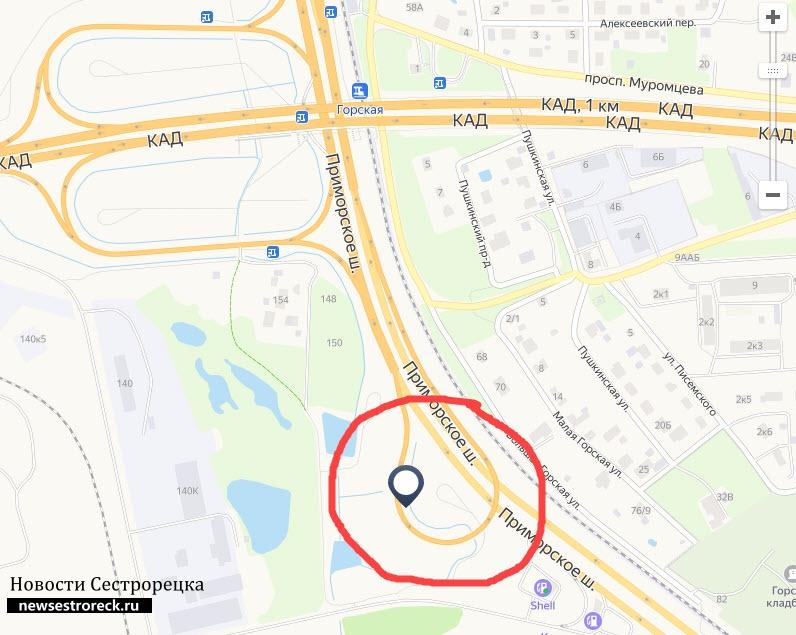 Разворотную петлю на Приморском шоссе в сторону Сестрорецка закроют на две недели